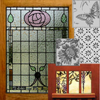 Leaded Stained Glass and Etched Glass Details